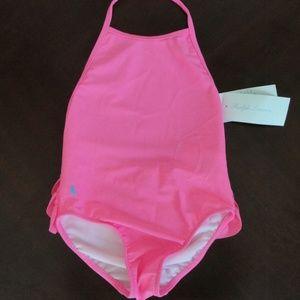 Ralph Lauren Ruffled Bottom 1pc Pink Swimsuit NEW